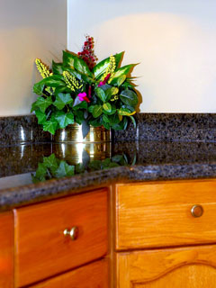 granite counter top and backsplash