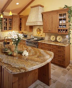 veined granite counter tops in a contemporary kitchen